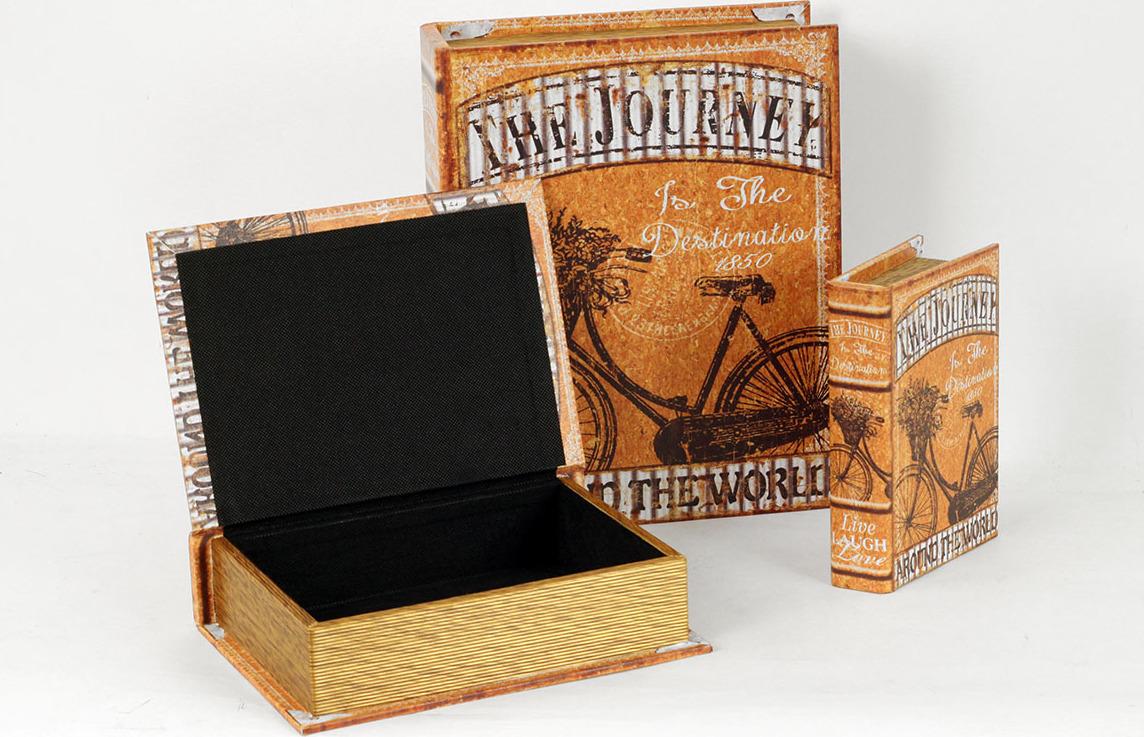 Krabička ve tvaru knihy | dřevěná | plátno s potiskem | sada 3ks