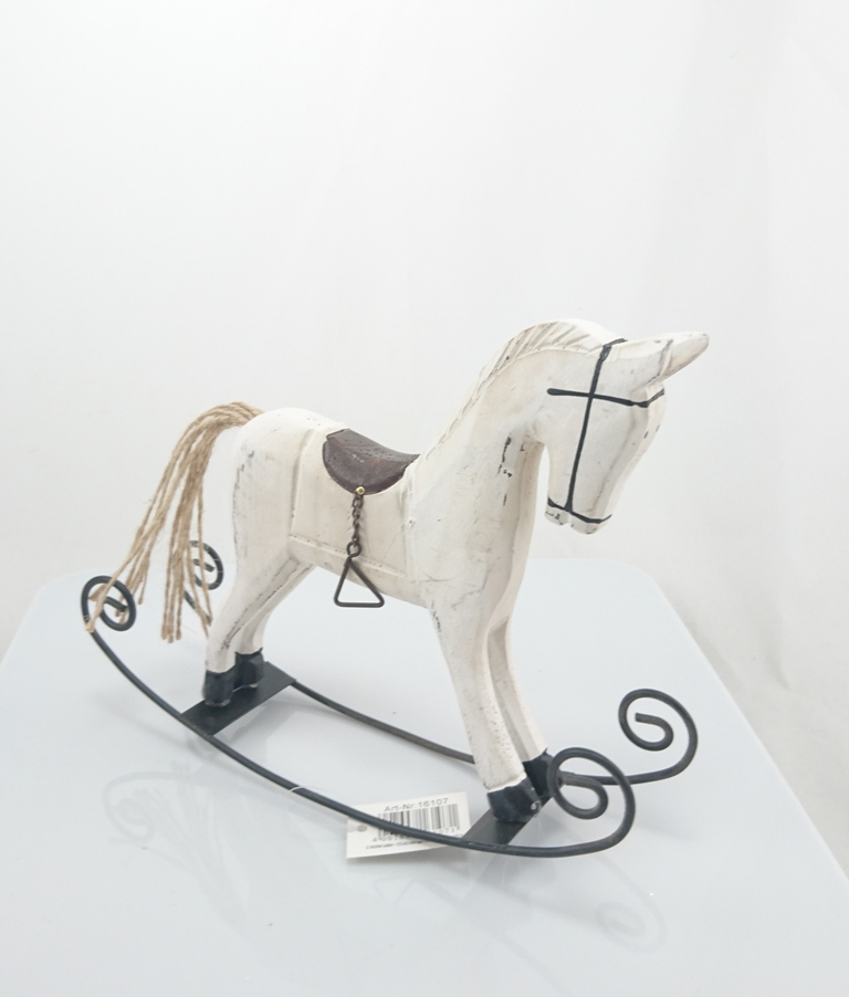 Houpací kůň dřevo 22x17x5cm Barva: bílá