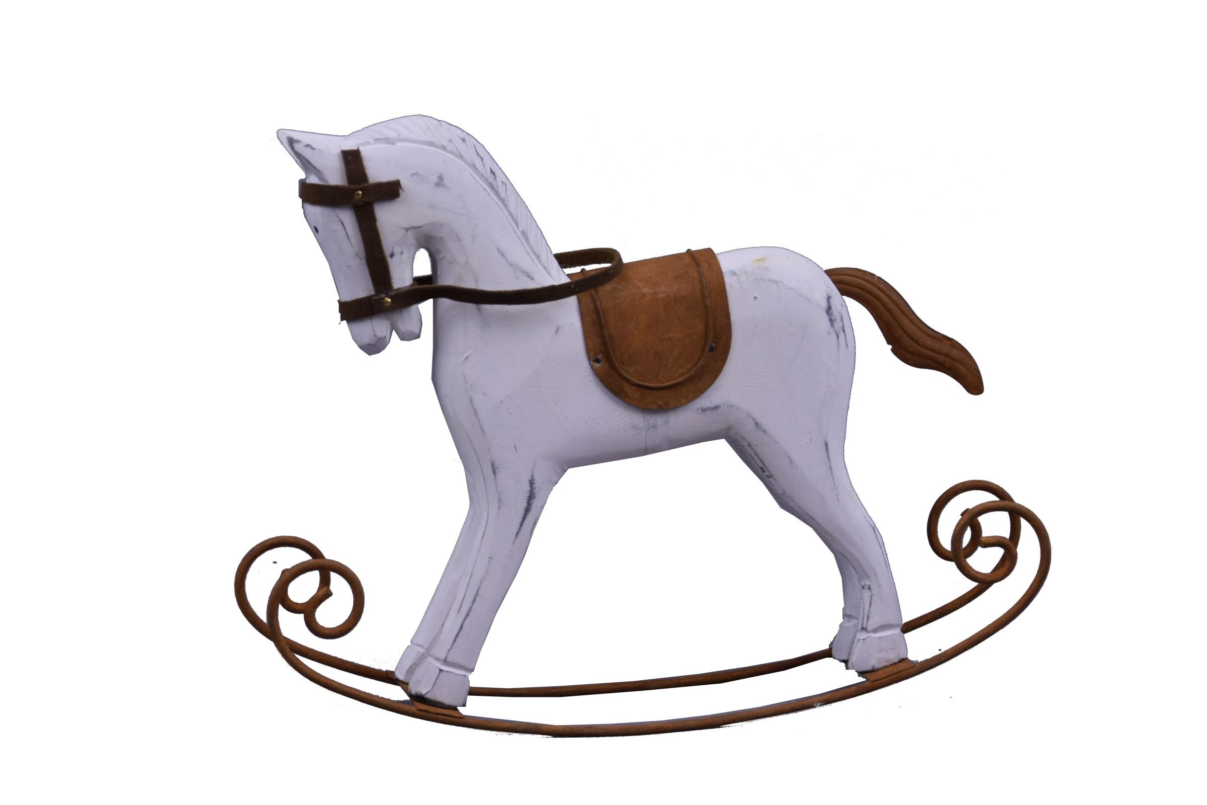 Houpací kůň bílý dřevo Rozměry: 23x19x6cm
