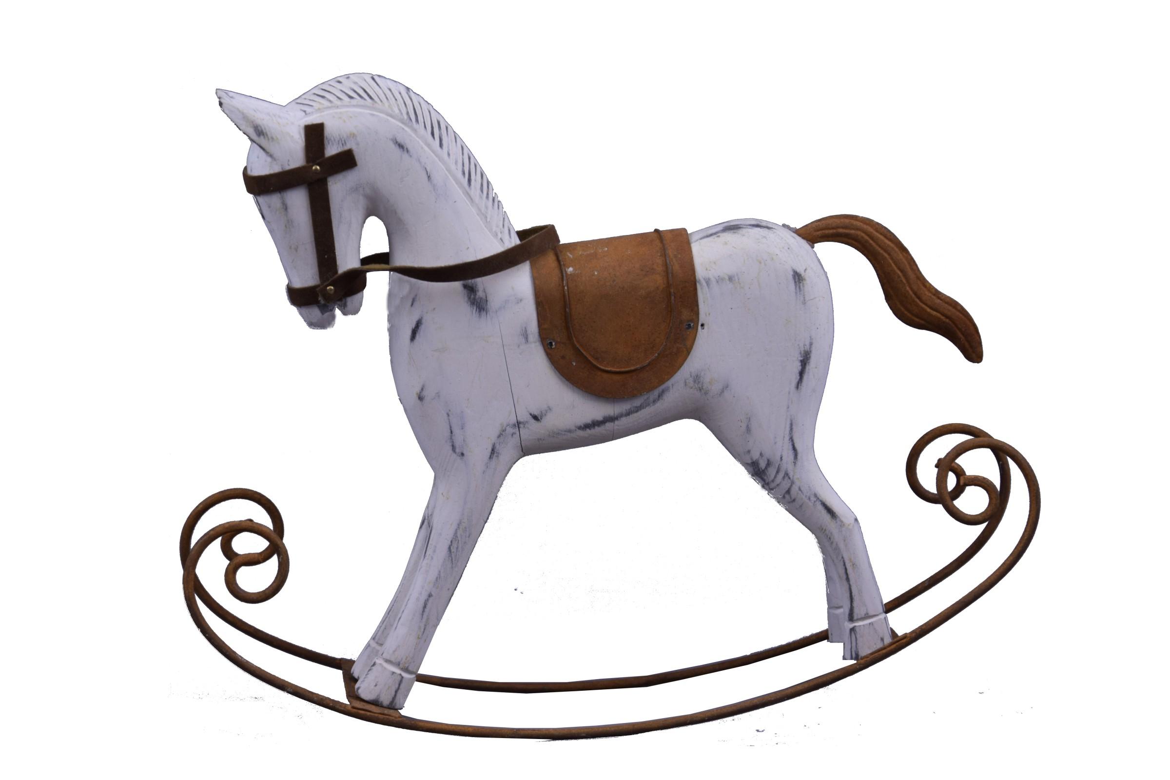 Houpací kůň bílý dřevo Rozměry: 30x26x6cm